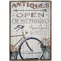 DonRegaloWeb - Cuadro - Cuadro de madera estilo vintaje con una bicicleta y flores