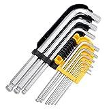 Tech Traders® - Set di 9 chiavi a brugola esagonali con testa sferica - da 1,5 mm a 10 mm