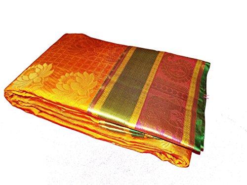 Sreenivasa Sarees Womens Pure Pattu Orange Color Hand Woven Saree
