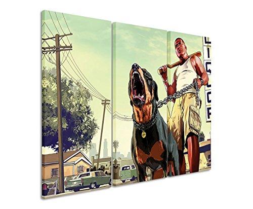 Leinwandbild 3 teilig GTA_V_Franklin_3x90x40cm (Gesamt 120x90cm) _Ausführung schöner Kunstdruck auf echter Leinwand als Wandbild auf Keilrahmen