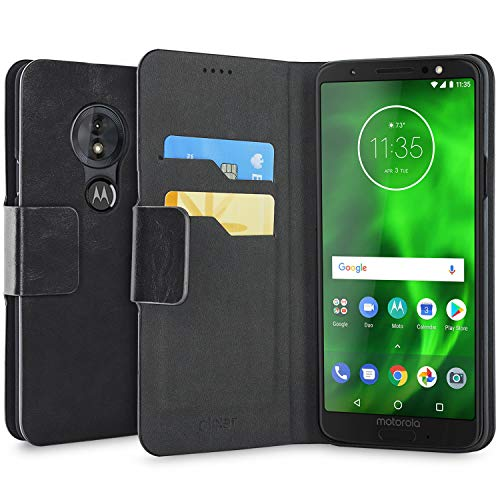 Olixar Motorola Moto G6 Play Wallet Case - PU Faux Leather - Slim Protective Cover - Card Storage Slots and Built In Media Viewing Stand Leather Style - Black -