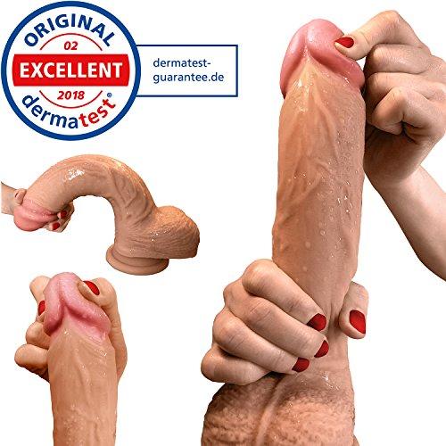 Dildo Aurelia® - Realistischer Dildo als Sexspielzeug für Frauen - Stolze 22cm Dildo mit Saugnapf - deutscher Qualitätsanspruch - zertifiziert durch deutsches Dermatest Institut