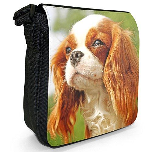 Cavalier King Charles Spaniel Hund Kleine Schultertasche aus schwarzem Canvas Braun & Weiß langhaarig