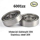 6001Z S6001 6001ZZ lager 304 Edelstahl Rillenlager Miniaturlagern Motoren 12x28x8mm ball bearing for motor 2-Pcs