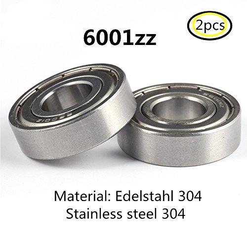 6001Z S6001 6001ZZ lager 304 Edelstahl Rillenlager Miniaturlagern Motoren 12x28x8mm ball bearing for motor 2-Pcs (Hose Nylon Runner)