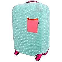 Funda Protectora de Maleta La tela de estiramiento viaje equipaje cubierta Carretilla caso protectora cubierta Verde con el lunar blanco