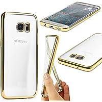 URCOVER® Case Cover Custodia Trasparente Samsung Galaxy S7 Edge di Silicone TPU | Morbida Protettiva Flessibile Lavabile Leggera con Bordo Cromato in Oro