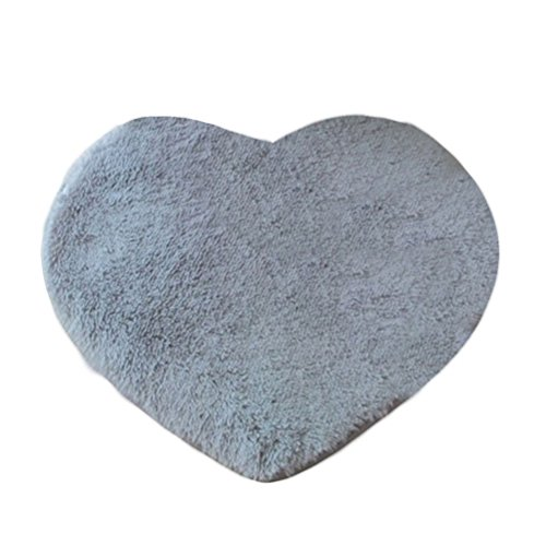 Anti-Rutsch-Teppich, favolook Lovely Herz Form rutschfeste Sessel Kissen Pad Boden Matte für Boden Badezimmer Garten Terrasse Sofa Tatami Dekoration grau
