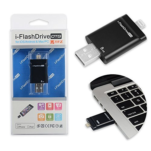 Flash Laufwerk 8GB Lagerung Build-in [Apple MFi Zertifiziert] TFZ® USB Speicherstick mit Lightning Stecker für iPhone 5/5s iPod iPad Computer Mac Laptop PC(mit App i-easy-Laufwerk)Schwarz