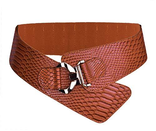 Damen Frauen PU Leder Gürtel Mode Strukturierte Einfarbig Breite elastische Gürtel Tailleband (Braun) - Geflochtene Breite Gürtel