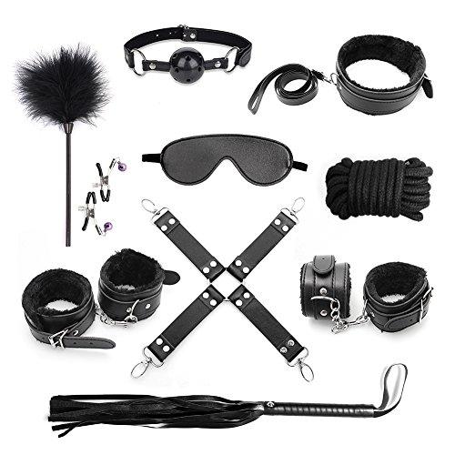 Cksohot® 10 pièces SM Bondage Set BDSM Sexy Toys Kits de Bondage Erotique Jouets - Noir