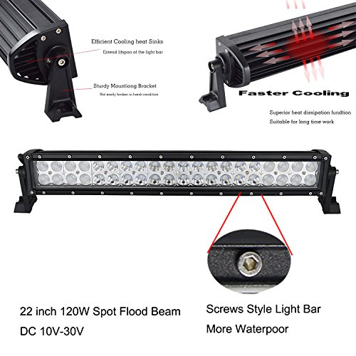 axutings 55,9 cm 120 W LED Light Bar Spot Flood Off Road LKW SUV 4 WD fahren Nebelscheinwerfer