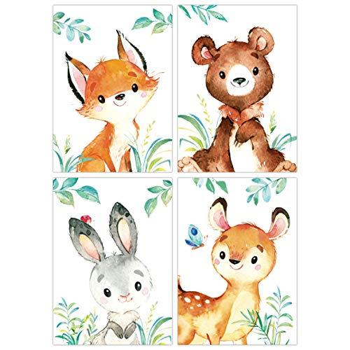 zimmer Poster 3er Set DIN A4 I Kinderzimmer Deko Mädchen Junge I Wandgestaltung Wanddekoration Wandbilder (Reh Bär Fuchs Hase) ()