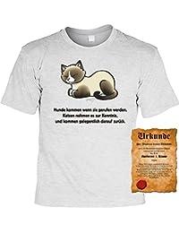 Katzenversteher T-Shirt Hunde kommen... Katzen nehmen es zur Kenntnis… - Veri Set Katzen T-Shirt und Urkunde in grau : )