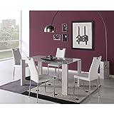 Conjunto de comedor mesa cristal 150 y 4 sillas Ibar - BLANCO/CROMO