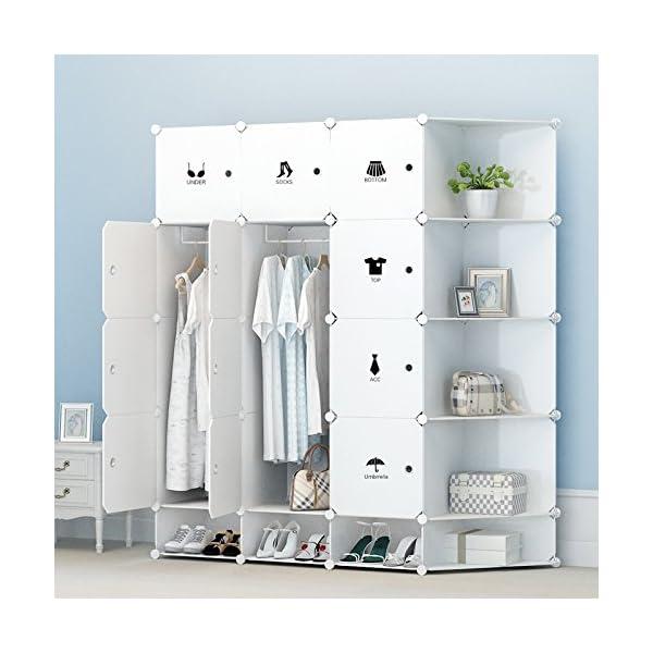 Koossy Erweiterbares Regalsystem Stabiles Steckregal Kleiderschrank - Schlafzimmer regalsysteme