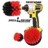 Drillbrush All Purpose Badoberflächen Dusche, Badewanne und Fliesen Strom Scrubber Bürsten-Reinigungs-Kit stiff-rot