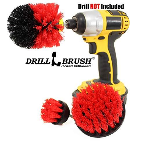 Drillbrush All Purpose Bagno Superfici doccia, vasca, e le mattonelle Power Kit Scrubber spazzola di pulizia stiff-rosso