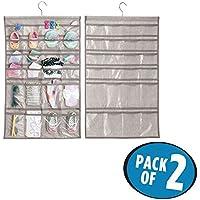 mDesign Juego de 2 organizadores de armarios - 48 bolsillos en cada percha – Estantería colgante para organizar armarios – Ideal para artículos de bebé y diversos accesorios – Color gris