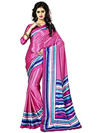 Jevi Prints Pink & Blue Faux Italian Crepe Printed Saree With Blouse Piece