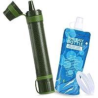 Axmda Mini Persönlicher Wasserfilter Outdoor Survival 1500L 0,01 Microns 3-stufiger Filtration, Wasseraufbereitung Notfall Luftreiniger für Outdoor für Reisen, Trekking, Camping und Wandern