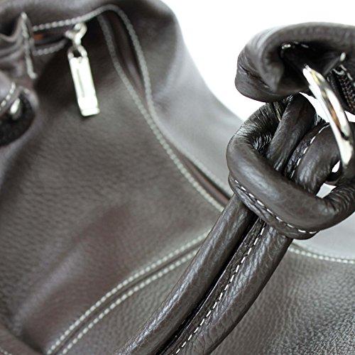 modamoda de - ital. Ledertasche Damentasche Hobo Bag Schultertasche Shopper Groß Leder 337 Dunkelbraun / Weiße Naht
