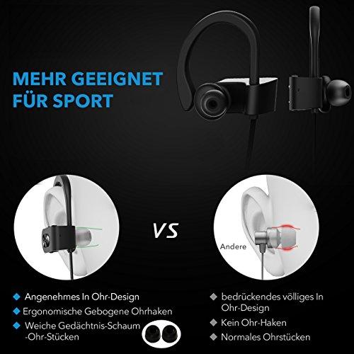 Mpow Flame Bluetooth Kopfhörer, IPX7 Wasserdicht Kopfhörer Sport, 7-10 Stunden Spielzeit/Bass+ Technologie, Sportkopfhörer Joggen/Laufen Bluetooth 4.1, In Ear Kopfhörer mit Mikrofon für iPhone Android - 4