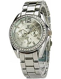 BELLOS-Damen Armbanduhr-Silber-Quarz-Modus-Stahl-Armband Stahl -Silber-new