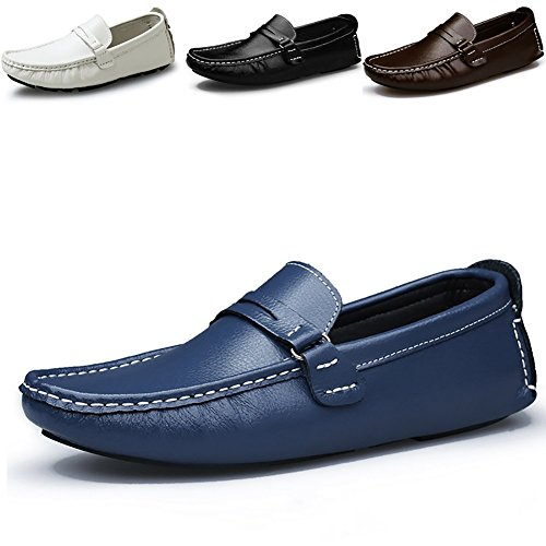 Odema Homme Confort Conduire Casual PU à enfiler mocassin Flâneur Chaussures bleu fonce