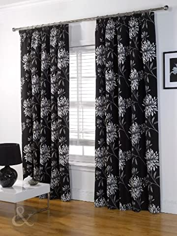 Just Contempo Floral Pencil Pleat Curtains, Black, 46x72 inches