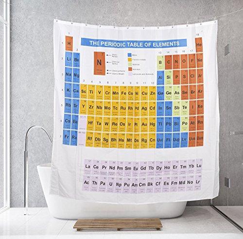 BadeStern Vorhang für Dusche: Duschvorhang Periodensystem, 180 x 180 cm, mit 12 Befestigungsringen (Deko-Duschvorhang) Periodensystem Duschvorhang