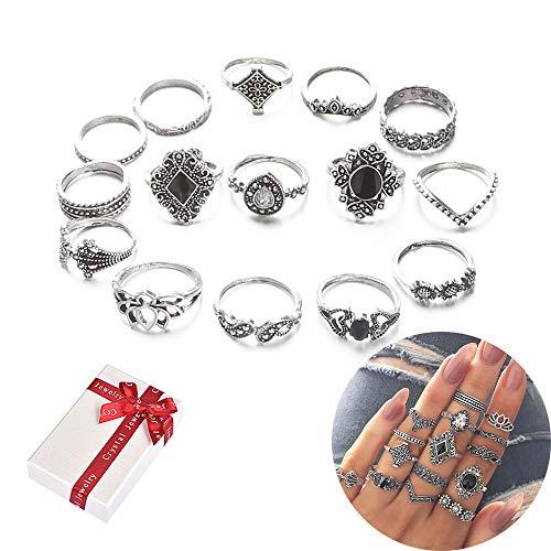 Jurxy 15 Stück Knöchelringe Set Böhmischen Stapeln Ringe Frauen Böhmische Weinlese Kristall Legierung Finger Ringe Orientalisches über Knöchel Rings für Damen Mädchen Frauen - JZ077 Silber - Antik-ring-set
