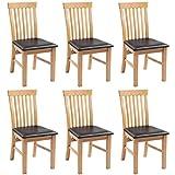 SHENGFENG Set von 6Eiche Holz Esszimmer Stühle Gepolstert Leder Sitz Küche Stühle