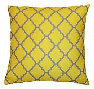 Housse de coussin à motifs géométriques de style marocain pour un clic-clac, pour décorer la maison ou pour offrir Jaune vif / gris, 43 x 43cm