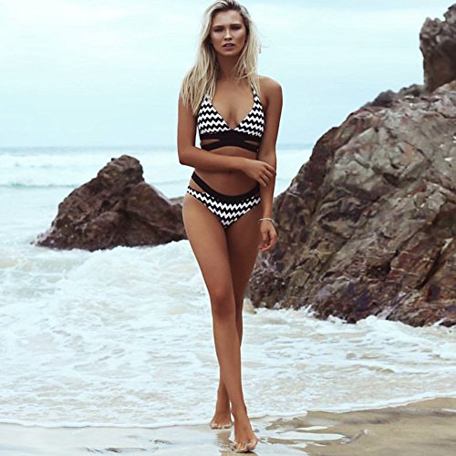 WSAD Lady Beach Bikini Gros Sein Maillot, Petite Poitrine, Hot Spring Maillot,M,Noir Et Blanc Rayé
