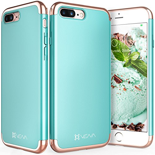 "Coque iPhone 8 Plus / 7 Plus, Vena [Mirage][Chromé] Dock-Friendly Slim Fit Hard Case Cover pour Apple iPhone 8 Plus / 7 Plus (5,5"") - Bleu vert / Or rose Bleu vert / Or rose"