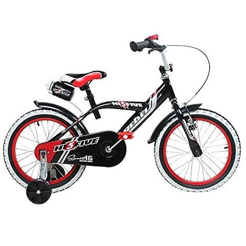 16 Zoll Hi5Rebel Kinderfahrrad für Kinder ab ca. 4 Jahren Fahrrad Stützräder, Farbe:schwarz /
