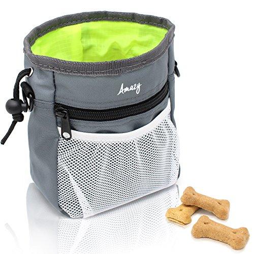 Amazy Futterbeutel für Hunde – Praktischer Leckerlibeutel mit integriertem Hundkotbeutel Spender für ein optimales Hundetraining und Spaziergänge (Grün)