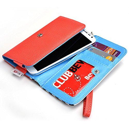 Kroo Housse de transport Dragonne Étui portefeuille pour Motorola Moto X (2ème génération)/Moto G 4G Blue Houndstooth and Blue Orange Stripes