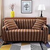 SSDLRSF Melange Stricken Stretch Sofabezug Stile Luxuriöse große Elastizität Couch deckt Loveseat Sofa Funiture Handtuch alle Wickeln Überzug (90-300cm), Braun, 2 Sitzer 145-185cm