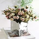 XHZ European Home Home couchtisch Wohnzimmer Dekoration Dekoration Künstliche Blume glasvase Blumen Blumen anordnung seidenblume Anzug, Silber Glas + Kleine lotuswurzel Pulver