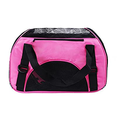 FOBUY Pet Cats Carrier Dogs Carrier Comfort Expandable Foldable Travel bag (Pale Pink) by FOBUY