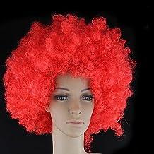 Peluca de payaso divertido gracioso explosión cabeza show chaqueta mostrar apoyos cos falso cabello Multicolor ( Color : Rojo )
