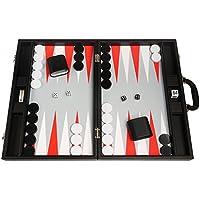 Juego de Backgammon Premium de 48 x 64 cm - Black Board con puntos rojos blancos y escarlatas