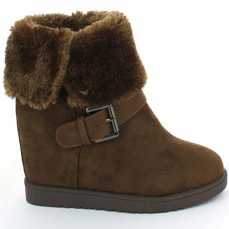 Ideal Shoes - Bottines compensées et fourrées avec ceinturon Hilarie Marron