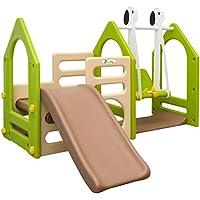 LittleTom Casa de Juegos 155x135cm para niños y niñas de 1 a 4 años Incl Tobogán Columpio Paneles de Escalada Beis Verde marrón