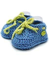 Magic Needles Autumn Winter Woolen Handmade Turkish Yarn Hand Knit Crochet Baby Ankle Boots (3-6 mths Toe to Heel 11 cms, 4173 Baby Boys Blue)