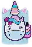 Diario con Lucchetto FRINGOO® per bambini bambine Quaderno A5 Diario 3D con lucchetto, unicorno design con animali 80 pagine