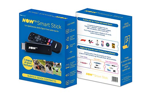 Now Tv Smart TV Stick für Sport, Partite, Torin und Gare in Real Time, Schwarz