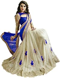 Culture Fab Women's Georgette And Net Embroidered Saree With Blouse Piece Cf3114_Blue And White_Free Size